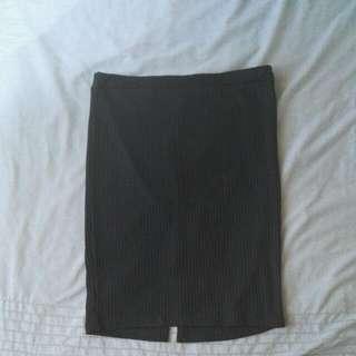 Ribbed Mid-length Work Skirt