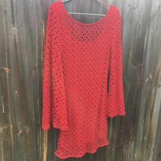 Flare Sleeve Crochet Dress