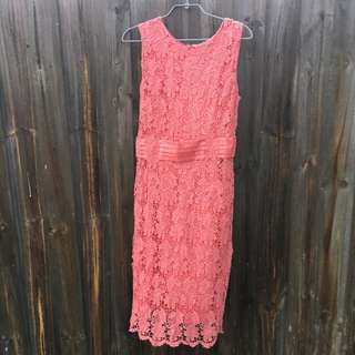 Diana Ferrari Crochet Detail Coral Dress