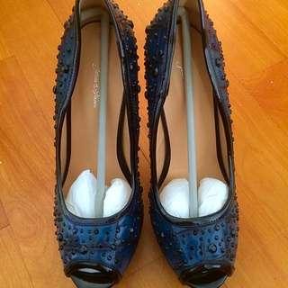 黑鑽魚口高跟鞋
