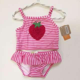 美國Crazy8 小女孩抗UV 小草莓比基尼泳衣 12-18M/18-24M