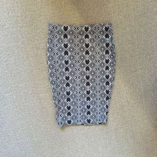 Metallicus Pencil Black Patterned Skirt