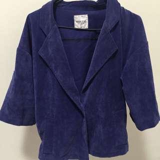 寬大燈芯絨藍色外套