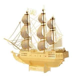 【阿齒】DIY 3D金屬模型 黑珍珠號海盜船(金色) / 另售巴黎鐵塔 姬路城 雪梨歌劇院 摩天輪 3D金屬拼圖