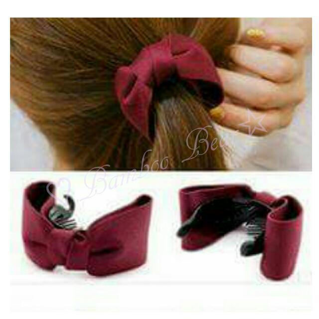 ☆現貨+預購--韓國髮飾蝴蝶結布藝髮夾扭扭夾紮馬尾髮飾