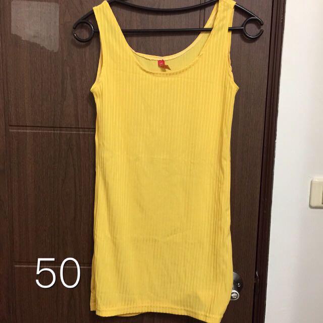 黃色直條紋背心