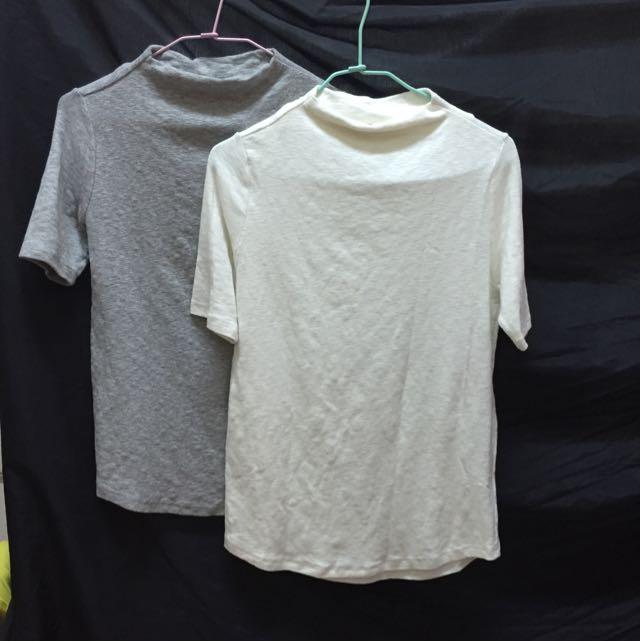 白/灰(全新)五分袖棉上衣