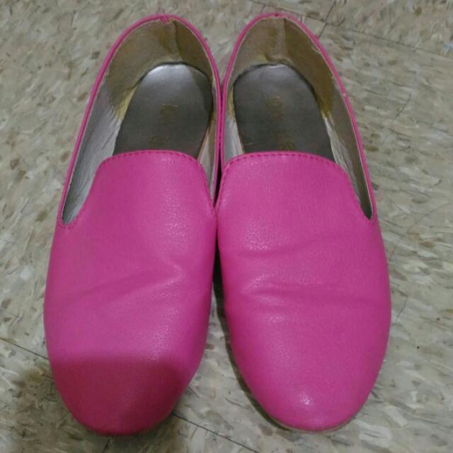 正韓桃紅平底鞋