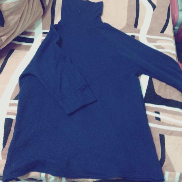 藍色針織高領洋裝