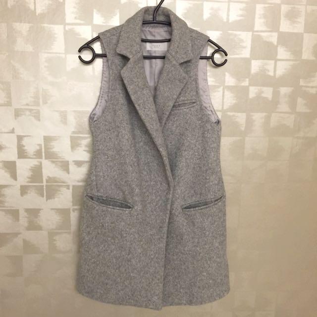 全新正韓純羊毛✨春秋季穿搭灰色背心外套