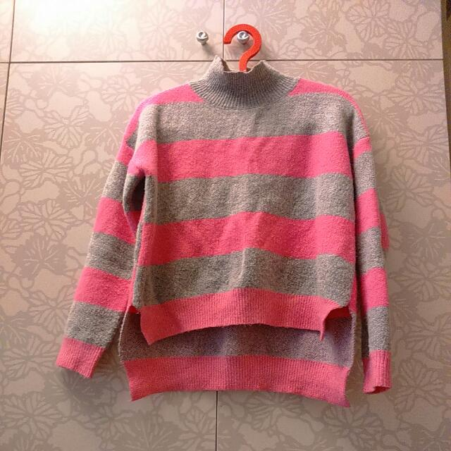 半高領 條紋毛衣