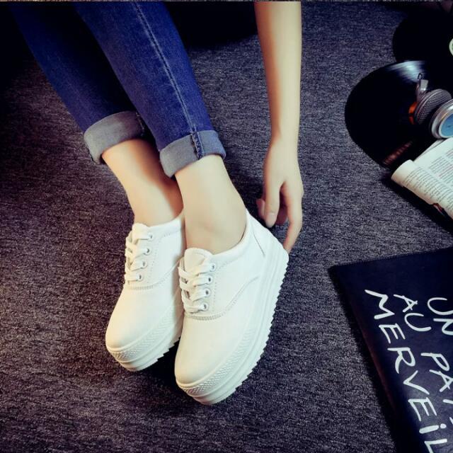 厚底 鬆糕 增高 小白鞋