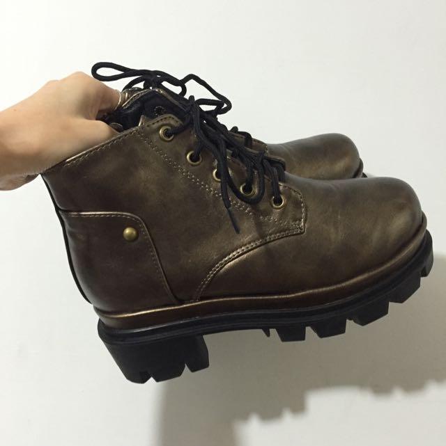 古銅色 綁帶 厚底 馬丁鞋 馬丁靴 靴子 短靴 37 23.5