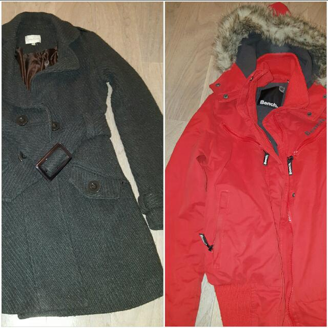 Bench bomber and trench jackets  M Grey trench 8/10 pilling $20 XS red bench Bomber 9/10 minor discolouration on the cuffs $120