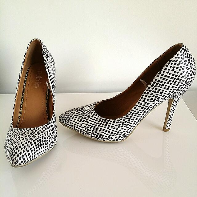 Black & White Spotted Heels