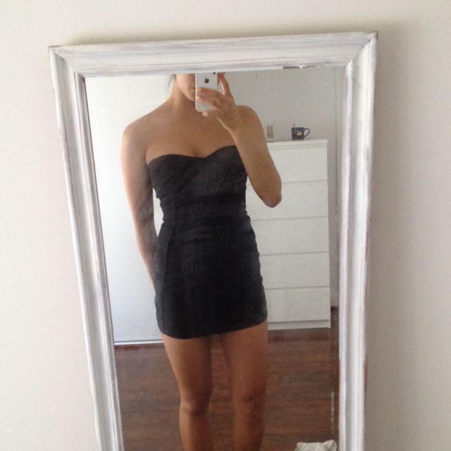 Black Strapless Bandage Bodycon Mini Dress