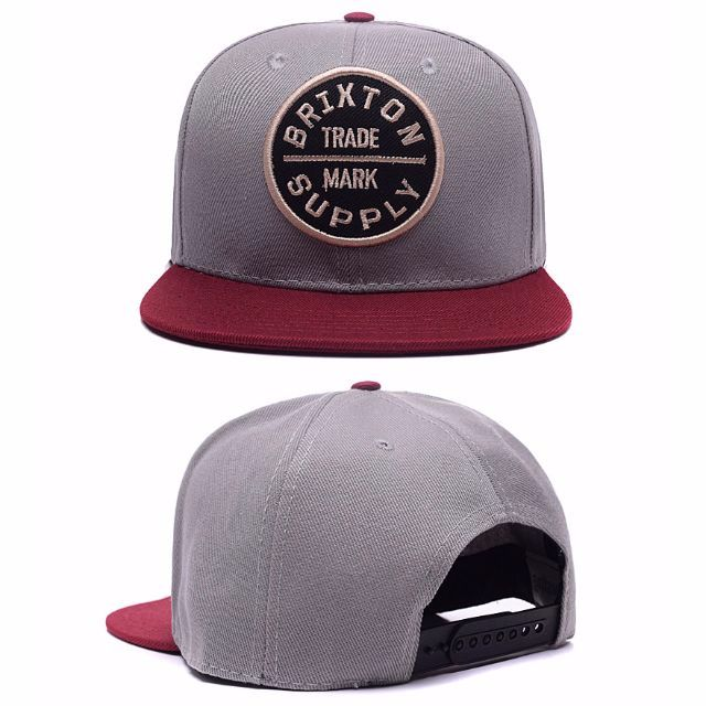Instock Brixton Trademark Supply Maroon Straight Brim Grey Top Snapback Cap  Hat Caps Hats with Adjustable Strap bc6f6aaa5a7