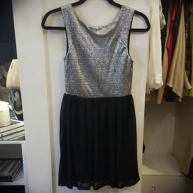 LUVALOT Silver Black Dress