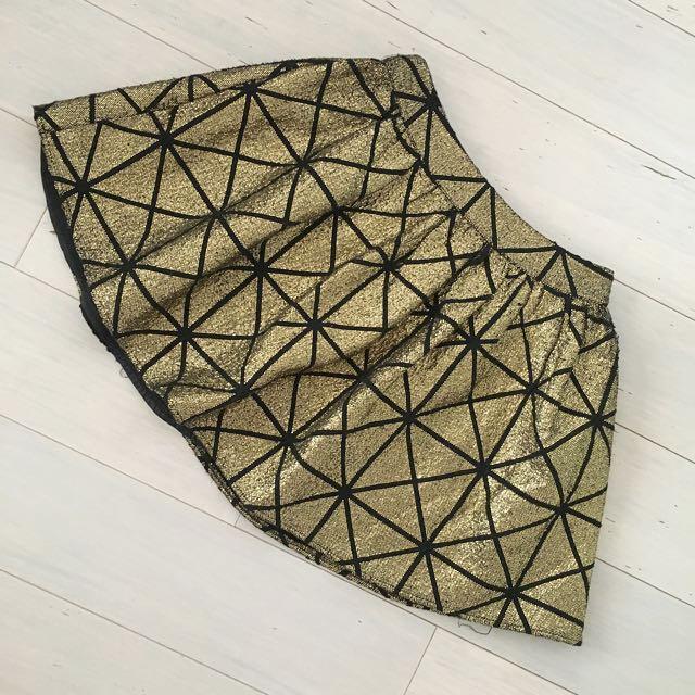 Metallic Gold Mini Skirt