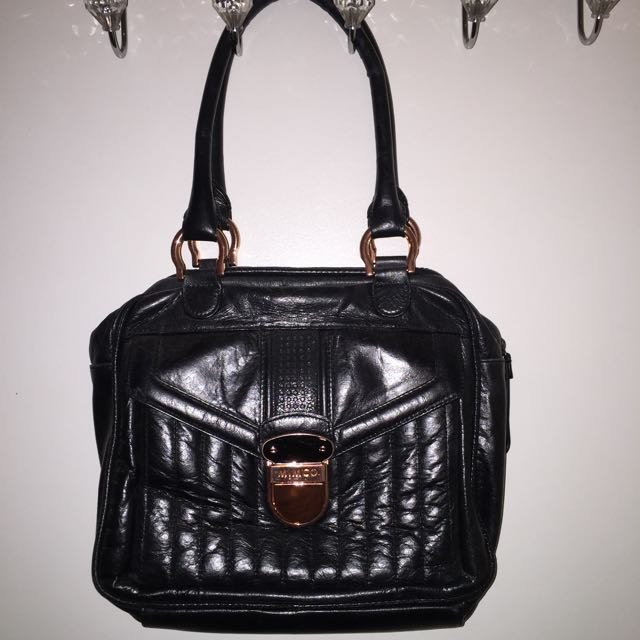 Mimco Black And Rose Gold Bag