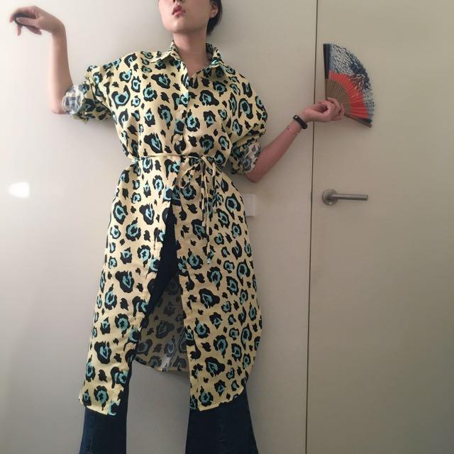 RARECURRY Unique Oversize Leopard Print Parka Dress