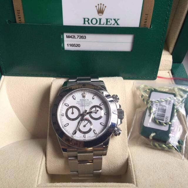 rolex daytona 116520 ss white not black warranty till. Black Bedroom Furniture Sets. Home Design Ideas