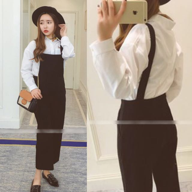 Sleek Casual Chic Korean Style Korea Look Long Pants Black Jumper Jumpsuit Romper Code E721
