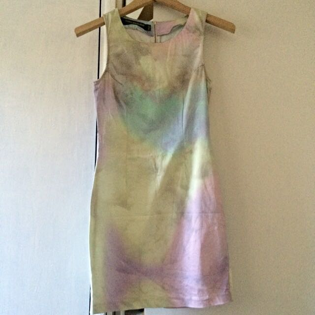 SOMETHING ELSE WATERCOLOUR PRINTED DRESS SIZE 6