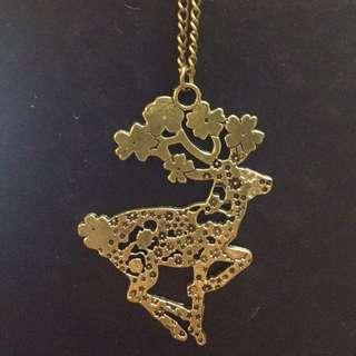 Prancing flowery deer necklace