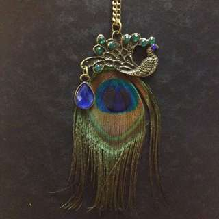 Peacock necklace with real peacock feather