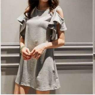 挖肩荷葉袖設計棉質洋裝