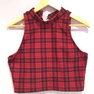 Red Plaid Crop Top Misguided