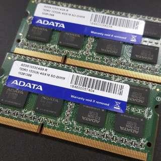威剛 DDR3 1333 4G 筆電用 記憶體 *2