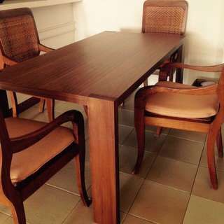 Solid Wood Dining Set & Rocking Chair