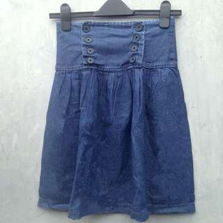 High waist Blue Jeans Skirt (Denim)