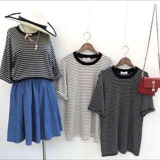 韓國條紋上衣(剩黑