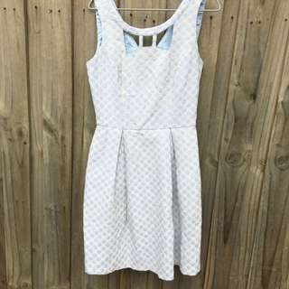 Review Blue And Cream Polka Dot Dress