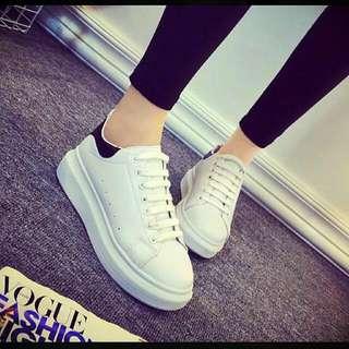 韓版黑白厚底真皮小白鞋