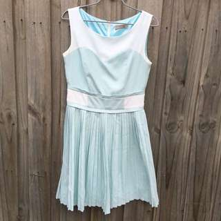 Forcast Blue And White Pleated Dress