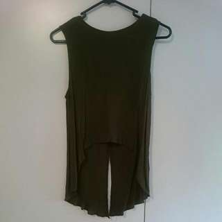 High Low Olive Top