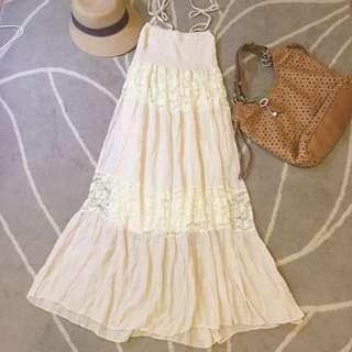(已售出)蕾絲拼接棉質綁帶長裙