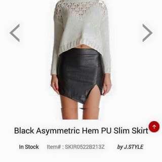 Black PU Skirt