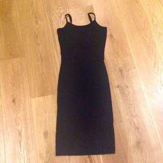 Plain Black Midi Dress With Low Back