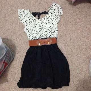 Dotty Elegant Dress Free Size