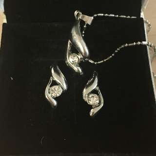 Matching Silver Earings + Necklace