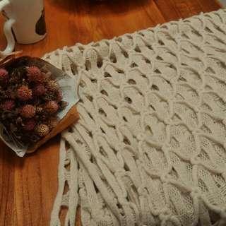 米白鉤針圍巾