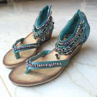 Teal Beaded Sandles With Small Wedge