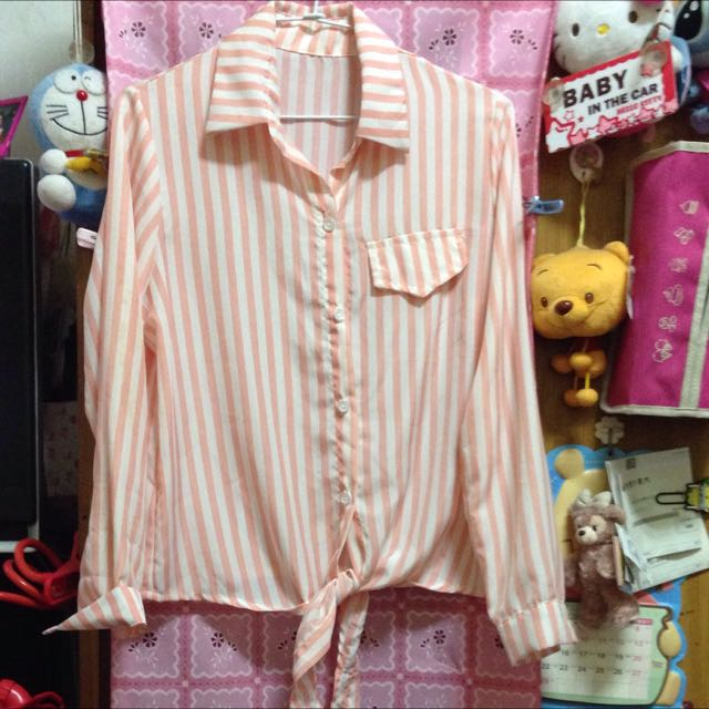 二手/粉色條紋雪紡紗襯衫