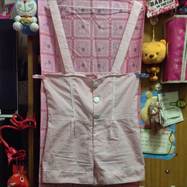 二手/韓版粉色條紋吊帶短褲