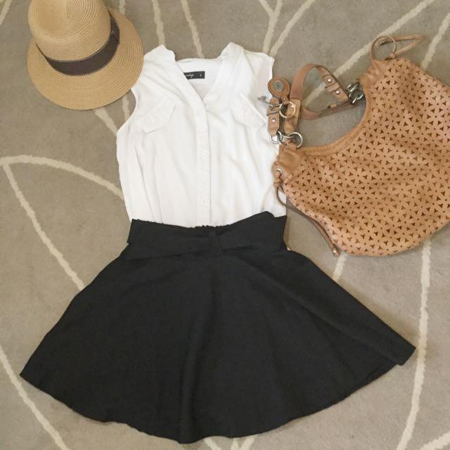 (已售出)黑色蝴蝶結百搭短裙/褲裙